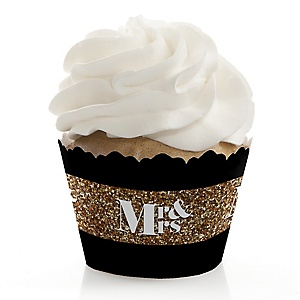 Mr. & Mrs. - Gold - Wedding Decorations - Party Cupcake Wrappers - Set of 12