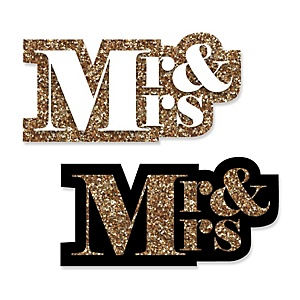 Mr. & Mrs. - Gold - DIY Shaped Wedding Paper Cut-Outs - 24 ct