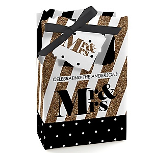 Mr. & Mrs. - Gold - Personalized Wedding Favor Boxes - Set of 12