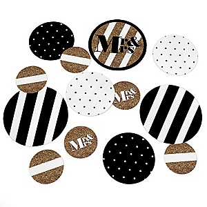 Mr. & Mrs. - Gold - Wedding Party Giant Circle Confetti - Princess Party Decorations - Large Confetti 27 Count