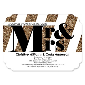 Mr. & Mrs. - Gold - Shaped Wedding Invitations - Set of 12