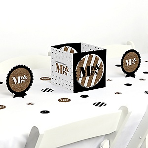 Mr. & Mrs. - Gold - Wedding or Bridal Shower Centerpiece and Table Decoration Kit