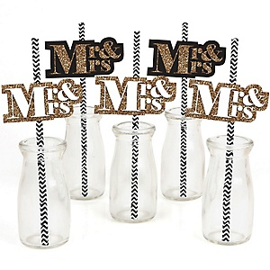 Mr. & Mrs. - Gold - Paper Straw Decor - Wedding Party Striped Decorative Straws - Set of 24