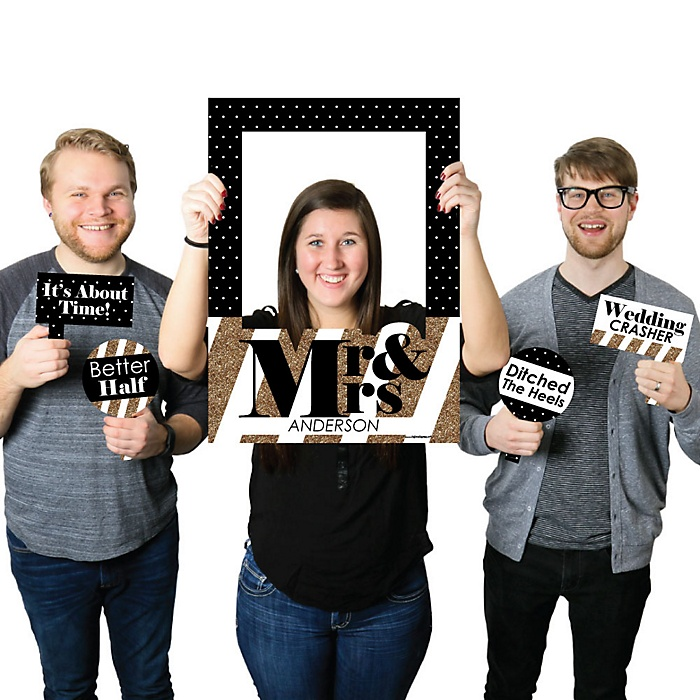 Mr. & Mrs. - Gold - Personalized Wedding Selfie Photo Booth Picture Frame & Props - Printed on Sturdy Material