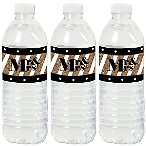 Mr. & Mrs. - Gold - Wedding or Bridal Shower Water Bottle Sticker Labels - Set of 20