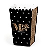 Mr. & Mrs. - Gold - Personalized Wedding Party Popcorn Favor Treat Boxes - Set of 12