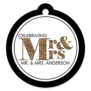Mr. & Mrs. - Gold - Personalized Wedding Tags - 20 ct