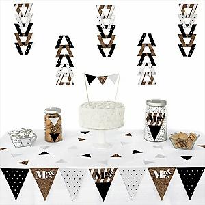 Mr. & Mrs. - Gold -  Triangle Wedding Decoration Kit - 72 Piece