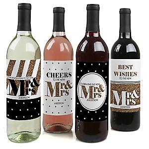 Mr. & Mrs. - Gold - Wedding Wine Bottle Label Stickers - Set of 4