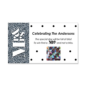 Mr. & Mrs. - Silver - Personalized Wedding Game Scratch Off Cards - 22 ct