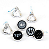Mr. & Mrs. - Silver - Round Candy Labels Bridal Shower Favors - Fits Hershey's Kisses - 108 ct