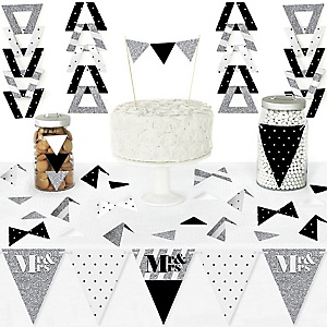 Mr. & Mrs. - Silver - DIY Pennant Banner Decorations - Wedding or Bridal Shower Triangle Kit - 99 Pieces
