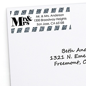 Mr. & Mrs. - Silver - Personalized Wedding Return Address Labels - 30 ct