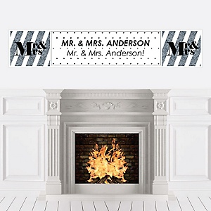 Mr. & Mrs. - Silver - Personalized Wedding Banner