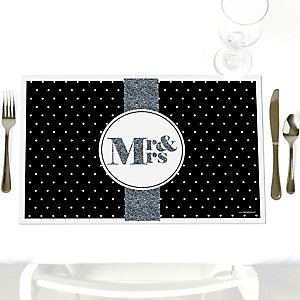 Mr. & Mrs. - Silver - Party Table Decorations - Wedding Placemats - Set of 12