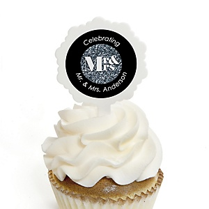 Mr. & Mrs. - Silver - Personalized Wedding Cupcake Picks and Sticker Kit - 12 ct