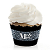 Mr. & Mrs. - Silver - Wedding Decorations - Party Cupcake Wrappers - Set of 12