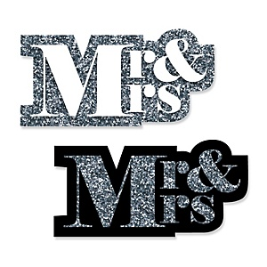 Mr. & Mrs. - Silver - DIY Shaped Wedding Paper Cut-Outs - 24 ct