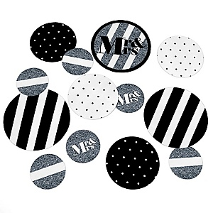 Mr. & Mrs. - Silver - Wedding Party Giant Circle Confetti - Princess Party Decorations - Large Confetti 27 Count