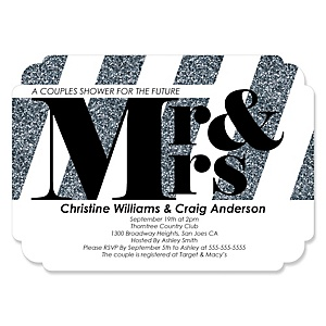 Mr. & Mrs. - Silver - Shaped Wedding Invitations - Set of 12