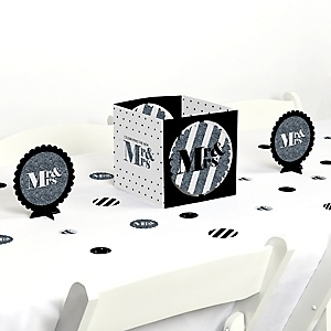 Mr. & Mrs. - Silver - Wedding or Bridal Shower Centerpiece and Table Decoration Kit