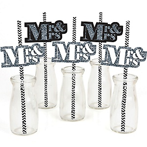Mr. & Mrs. - Silver - Paper Straw Decor - Wedding Party Striped Decorative Straws - Set of 24