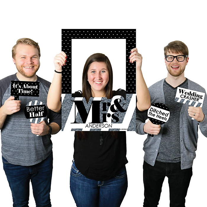 Mr. & Mrs. - Silver - Personalized Wedding Selfie Photo Booth Picture Frame & Props - Printed on Sturdy Material