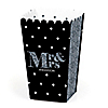 Mr. & Mrs. - Silver - Personalized Wedding Party Popcorn Favor Treat Boxes - Set of 12
