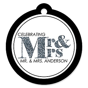 Mr. & Mrs. - Silver - Personalized Wedding Tags - 20 ct