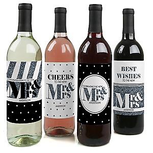 Mr. & Mrs. - Silver - Wedding Wine Bottle Label Stickers - Set of 4