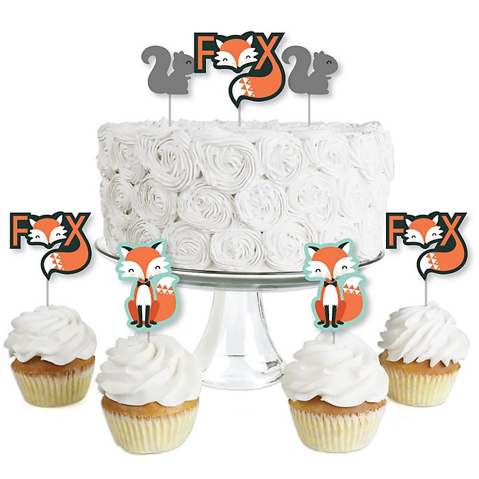 Mr. Foxy Fox - Dessert Cupcake Toppers - Baby Shower or Birthday Party Clear Treat Picks - Set of 24