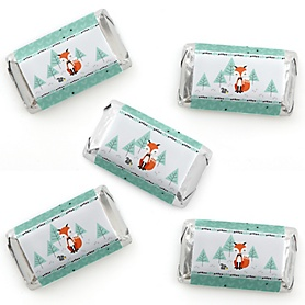 Mr. Foxy Fox - Mini Candy Bar Wrapper Stickers - Baby Shower or Birthday Party Small Favors - 40 Count