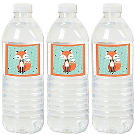 Mr. Foxy Fox - Baby Shower or Birthday Party Water Bottle Sticker Labels - Set of 20