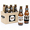 Mr. & Mrs. - Gold - Wedding - 6 Beer Bottle Label Stickers and 1 Carrier