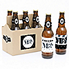 Mr. & Mrs. - Silver - 6 Beer Bottle Label Stickers and 1 Carrier - Wedding Gift