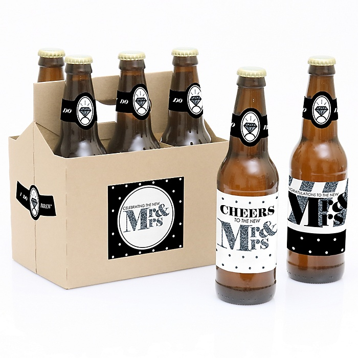 Mr. & Mrs. - Silver - Decorations for Women and Men - 6 Beer Bottle Label Stickers and 1 Carrier - Wedding Gift