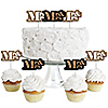 Mr. & Mrs. Gold - Dessert Cupcake Toppers - Wedding or Bridal Shower Party Clear Treat Picks - Set of 24