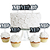 Mr. & Mrs. Silver - Dessert Cupcake Toppers - Wedding or Bridal Shower Party Clear Treat Picks - Set of 24