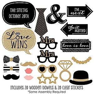 Mrs. & Mrs. - Gold - 20 Piece Gay Wedding LGBTQ Photo Booth Props Kit