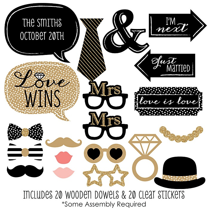Mrs. & Mrs. - Gold - 20 Piece Gay Wedding LGBTQ Photo Booth Props Kit