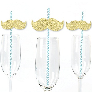 Gold Glitter Mustache Party Straws - No-Mess Real Gold Glitter Cut-Outs and Decorative Little Man Baby Shower or Birthday Party Paper Straws - Set of 24