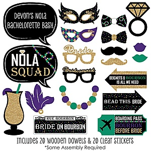 NOLA Bride Squad - 20 Piece New Orleans Bachelorette Party Photo Booth Props Kit