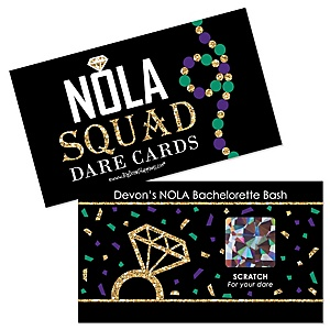 NOLA Bride Squad - Personalized New Orleans Bachelorette Party Game Scratch Off Dare Cards - 22 ct