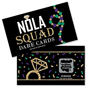 NOLA Bride Squad - New Orleans Bachelorette Party Game Scratch Off Dare Cards - 22 ct