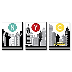NYC Cityscape - New York City Wall Art, Country Decorations and Kids Room Decor - 7.5 x 10 inches - Set of 3 Prints