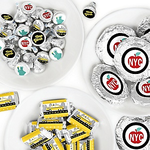 NYC Cityscape - Mini Candy Bar Wrappers, Round Candy Stickers and Circle Stickers - New York City Party Candy Favor Sticker Kit - 304 Pieces