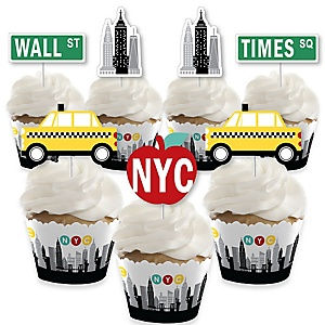NYC Cityscape - Cupcake Decorations - New York City Party Cupcake Wrappers and Treat Picks Kit - Set of 24