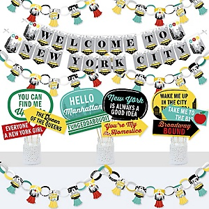 NYC Cityscape - Banner and Photo Booth Decorations - New York City Party Supplies Kit - Doterrific Bundle