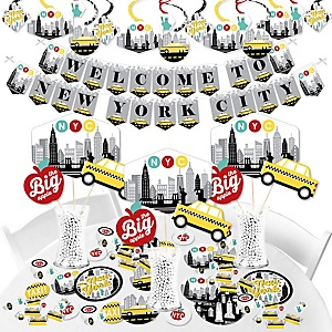 NYC Cityscape - New York City Party Supplies - Banner Decoration Kit - Fundle Bundle