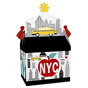 NYC Cityscape - Treat Box Party Favors - New York City Party Goodie Gable Boxes - Set of 12